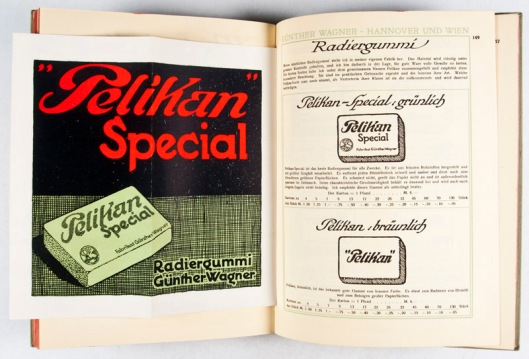 "Collection of six catalogs from the Pelikan Paper and Printing Company: 1) Pelikan Zeichenblock: Papiermuster (ND. ca 1935); 2) Günther Wagner Preis-Liste No. 19B (1901); 3) Günther Wagner Preis-Liste No. 20B (1904); 4) Günther Wagner Preis-Liste No. 25A (1908); 5) Günther Wagner ""Pelikan"" Preis-Liste No. 30B (1913); 6) Günther Wagner ""Pelikan"" Hauptliste No. 70 (1938)] by Günther Wagner Fabriken"